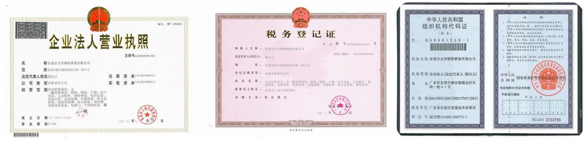 东莞市文兴钢管桥架有限公司营业执照